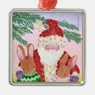 santa and furry friends ornament
