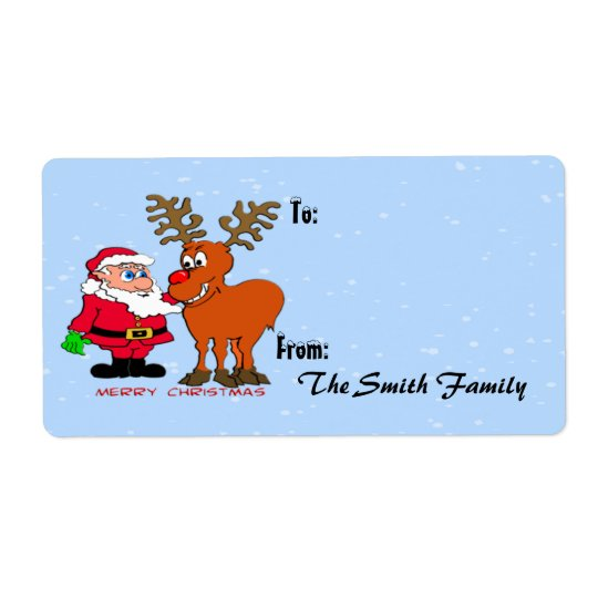 Santa and Gift Tag (large) Shipping Label