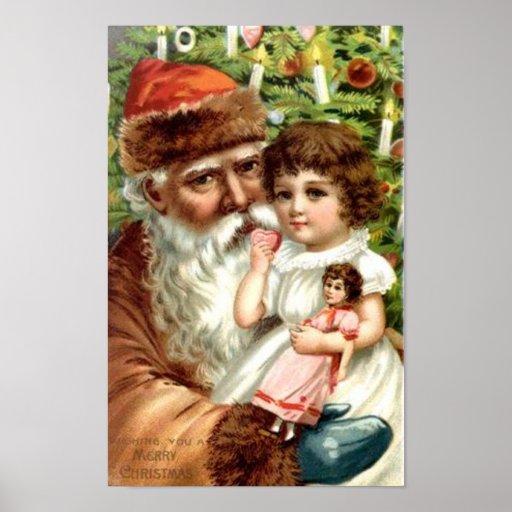 Santa and GIrl with Doll Print