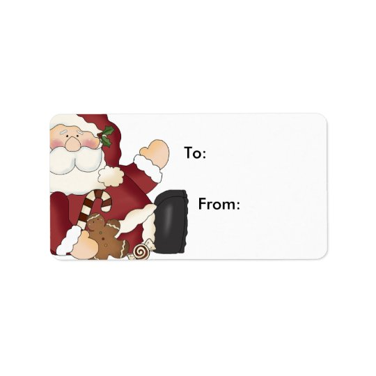 Santa And Goodies Christmas Gift Labels