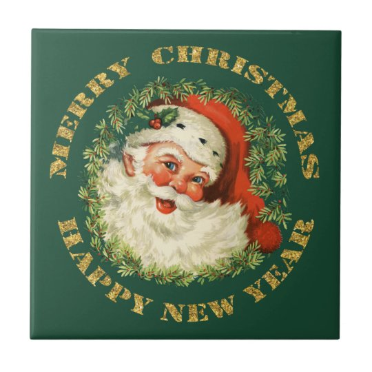 Santa and Green Pine Frame Small Square Tile