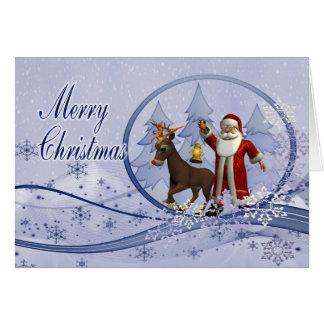 Santa and greeting card