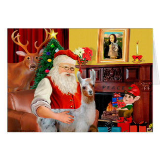 Santa and his Baby Llama Card