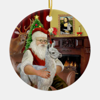Santa and his Baby Llama Christmas Ornament