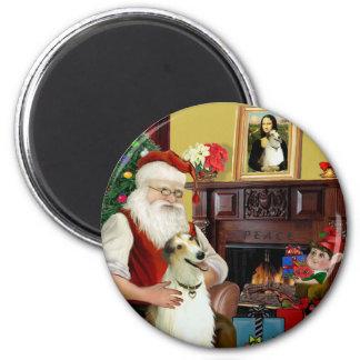 Santa and his Borzoi Fridge Magnet