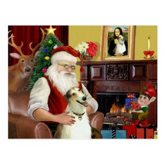 Santa and his Borzoi Postcard
