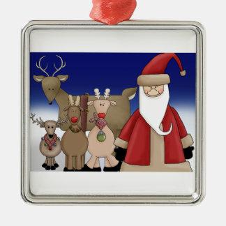 Santa and his deer christmas ornament
