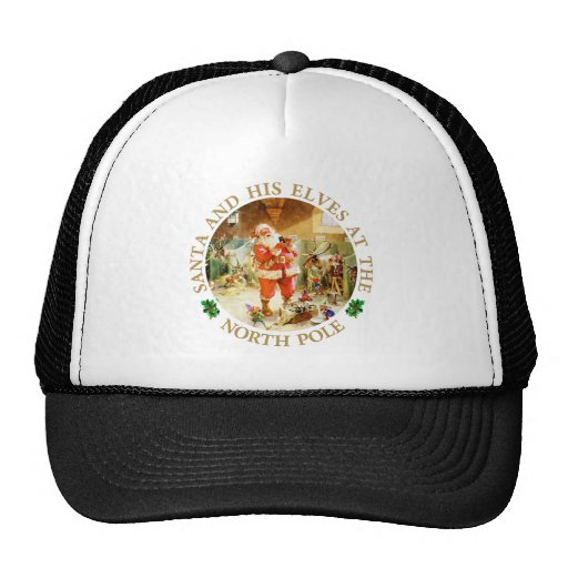 Santa and His Elves at The North Pole Stables Mesh Hat