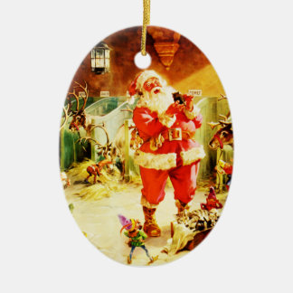 Santa and His Elves in The North Pole Stables Christmas Ornament