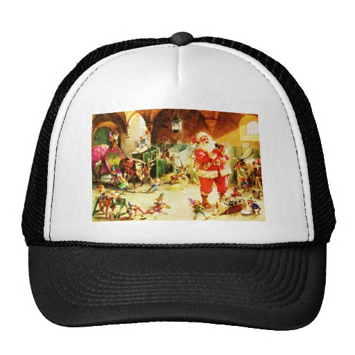 Santa and His Elves in The North Pole Stables Trucker Hat