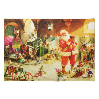 Santa and His Elves in The North Pole Stables Placemat