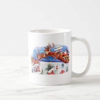Santa and His Flying Reindeer Coffee Mug