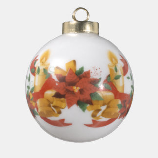 Santa and his Reindeer by Shawna Mac Ceramic Ball Decoration