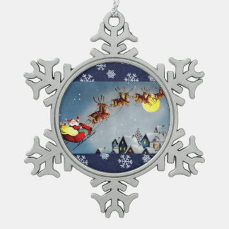 Santa and His Reindeer Flying Over Snowy Rooftops Pewter Snowflake Decoration