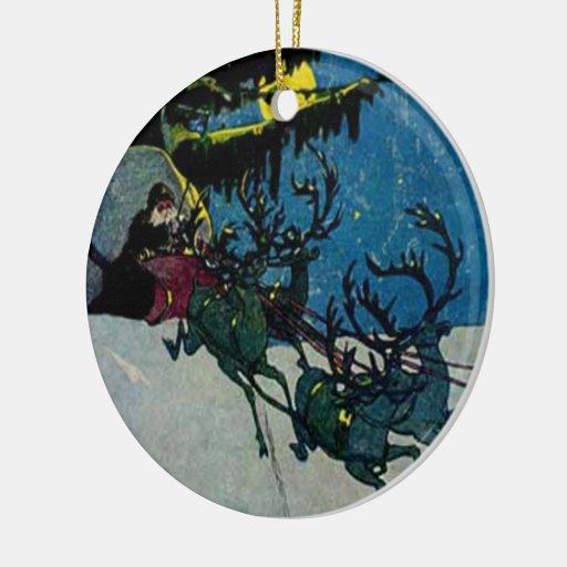 Santa and his Reindeer Vintage Artwork Ornament