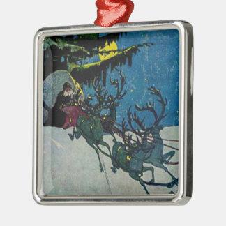 Santa and his Reindeer Vintage Artwork Christmas Tree Ornaments