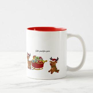Santa and his Reindeers Two-Tone Coffee Mug