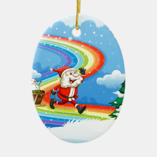 Santa and his sleigh walking at the rainbow christmas ornament