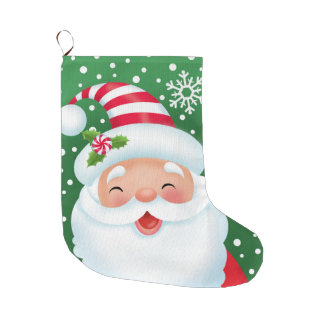 Santa and His Stripe Hat Stocking