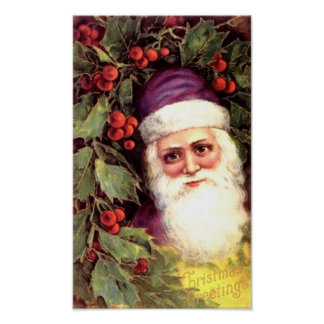 Santa and Holly Posters