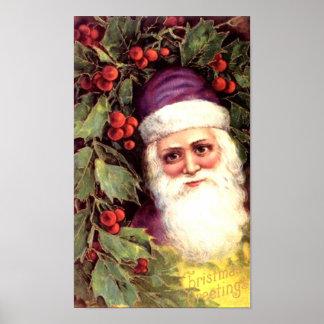 Santa and Holly Posters