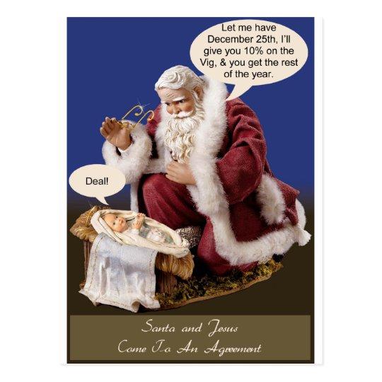 Santa and Jesus Make a Deal Postcard
