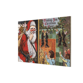Santa and Kids looking up Chimney Gallery Wrapped Canvas
