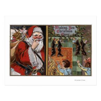 Santa and Kids looking up Chimney Postcard