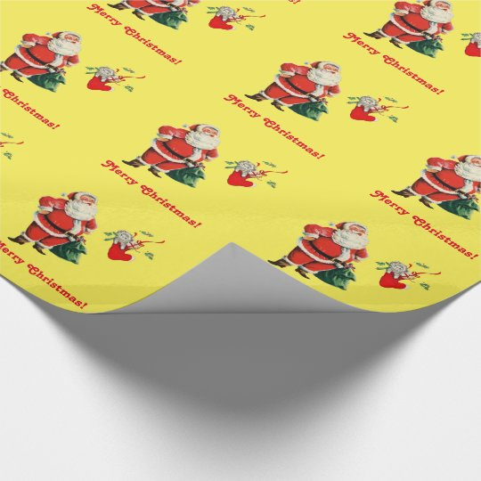 Santa and Kitten Wrapping Paper