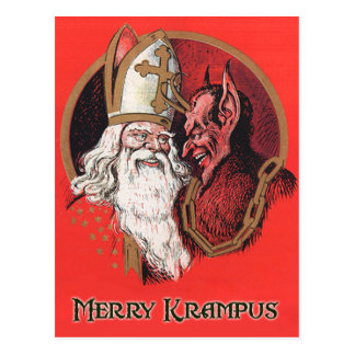 Santa and Krampus Postcard