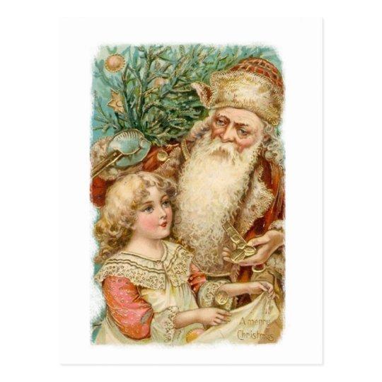 Santa and little girl Christmas Postcards