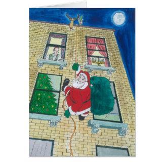 Santa and menorah greeting card