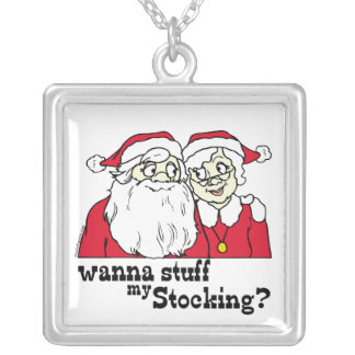 Santa and Mrs Claus Personalized Necklace