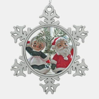 Santa and Mrs. Claus Pewter Snowflake Decoration