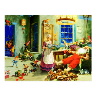 Santa and Mrs. Claus Relax Christmas Night Postcard