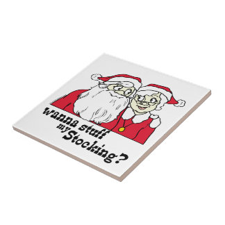 Santa and Mrs Claus Small Square Tile