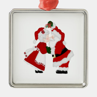 Santa and Mrs Clause kissing ornament