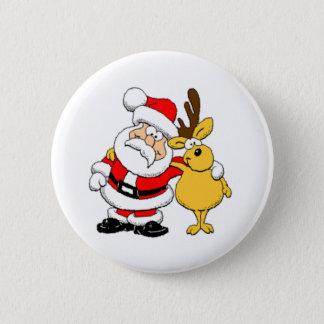 Santa and Reindeer 6 Cm Round Badge