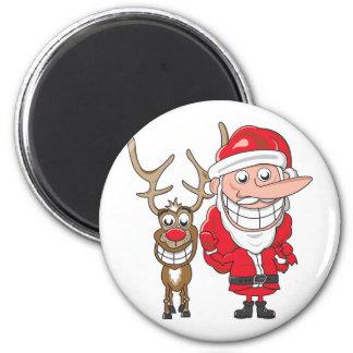 Santa and Reindeer 6 Cm Round Magnet