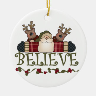 Santa and Reindeer Believe Keepsake Ornament