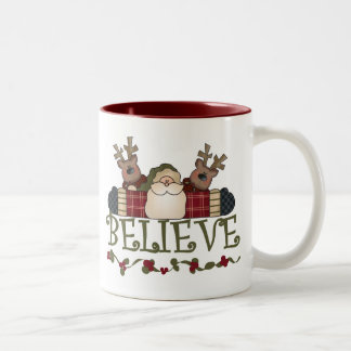 Santa and Reindeer Believe Two-Tone Mug