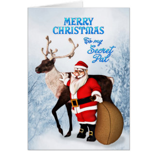 Santa and reindeer Christmas card for secret pal