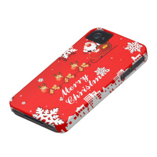 Santa and Reindeer Christmas iPhone 4 Case-Mate Case