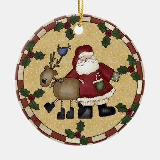 Santa and Reindeer Christmas Ornament