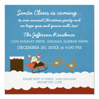 """Santa and Reindeer Christmas Party Invite 5.25"""" Square Invitation Card"""