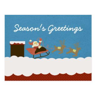 Santa and Reindeer Christmas Postcard