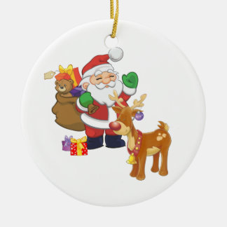 Santa and Reindeer Double-Sided Ceramic Round Christmas Ornament