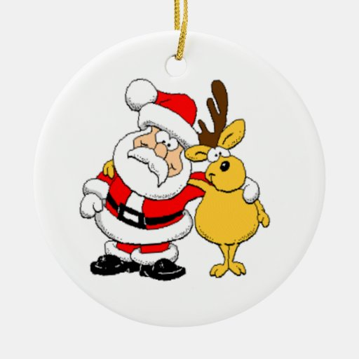Santa and Reindeer Christmas Tree Ornaments