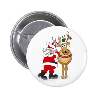 Santa and reindeer friend! 6 cm round badge