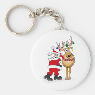Santa and reindeer friend! basic round button key ring